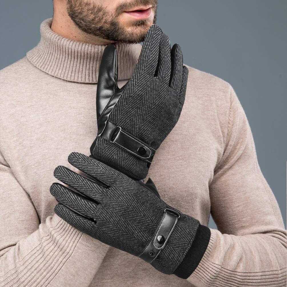 VBG VBIGER Men Warm Gloves Winter Touchscreen Gloves All Fingers Texting Gloves Fleeced Driving Motorcycle Gloves Work Gloves Black (Medium, Black)