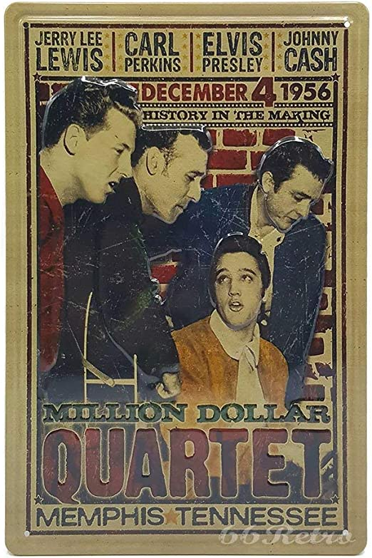 Canvas Presley Lewis Perkins Cash Million Dollar Quartet Pub Art print POSTER