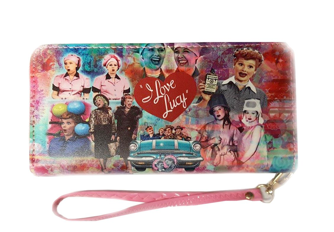 I Love Lucy Colorful Collage Wallet with Around Zip Closure (Colorful)