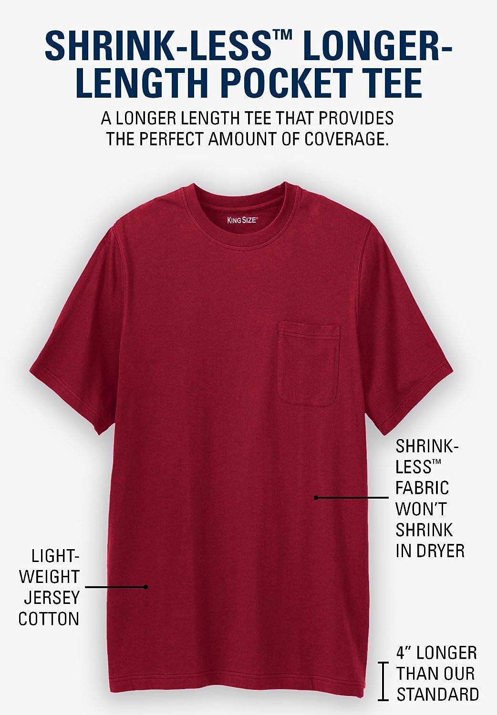 fd8ebc84b8 KingSize Men's Big & Tall Shrink-Less Lightweight Longer-Length Crewneck  Pocket T-Shirt | Amazon.com
