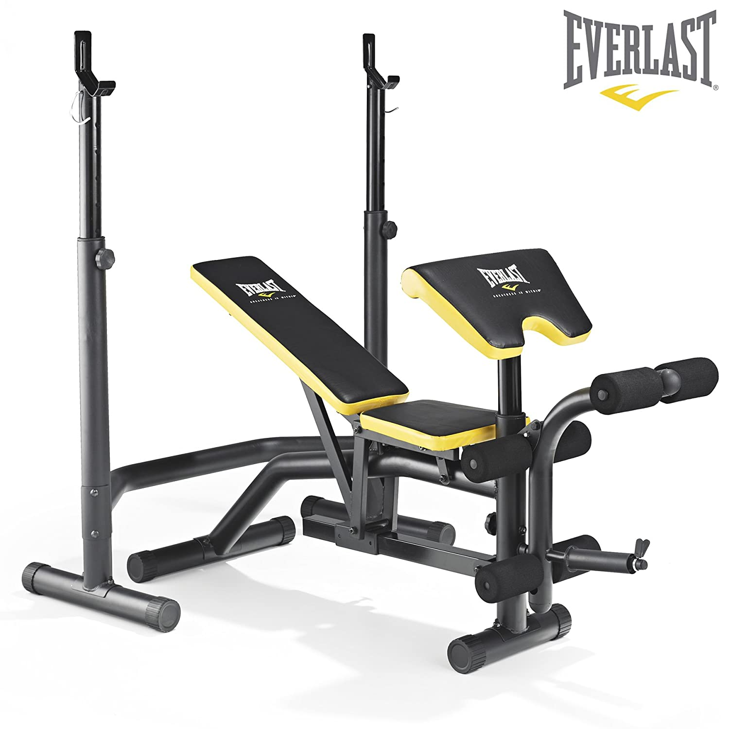 Everlast EV-340 Weight Bench & Squat Rack - Preacher Pad & Leg Developer  Included: Amazon.co.uk: Sports & Outdoors
