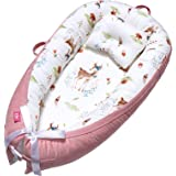 EIH Baby Nest,Baby Lounger Co-Sleeping Baby Bassinet for Bed Newborn Lounger 100% Soft Cotton Breathable and Portable Crib wi