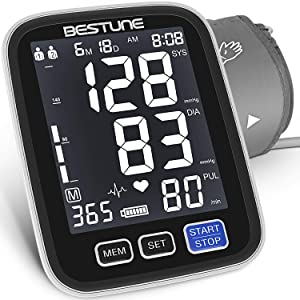 Blood Pressure Monitor-Accurate Automatic Digital Upper Arm High Blood Pressure Machine with Large LCD Backlight, BP Monitor Kit Cuff for Home Use & Pulse Rate Monitoring,2X500 Sets Memory by BESTUNE
