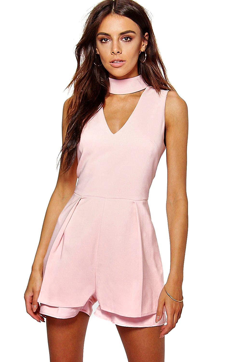 Pink Womens Alison Double Layer Choker Playsuit