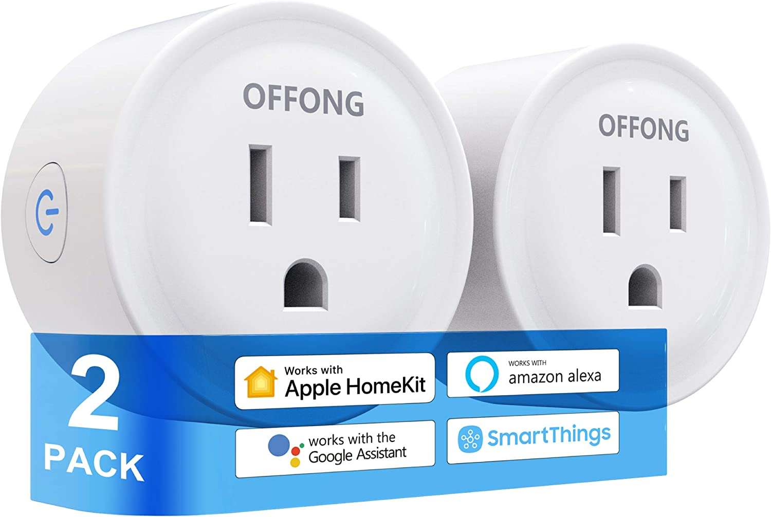 Smart Plug Homekit 2 Pack,Support Apple Home HomeKit,Apple Siri,Alexa,Google Assistant,Homepod,Apple TV,Tuya Smart,SmartThings,Google Voice & App Remote Control,Timer & Scheduled,No Hub Needed,2.4GHz