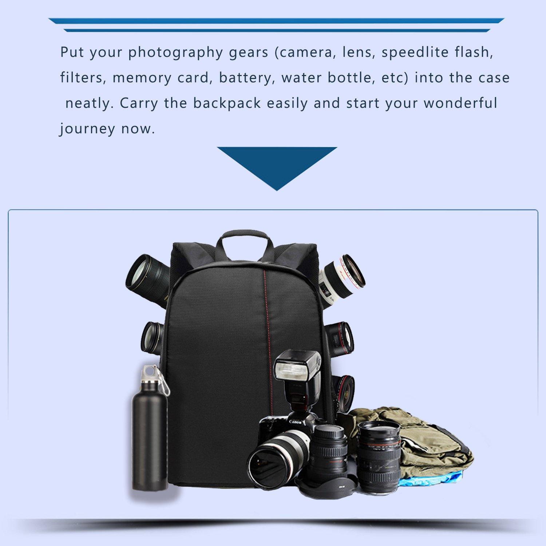 Blitzlicht -34 x 26.5 x 12.5cm Followsun SLR DSLR Kameratasche Rucksack Objektive Kompakte Wasserdichte Sto/ßfest Fotorucksack Fototasche f/ür Canon Nikon Sony und Spiegellose Kamera Rot Innere