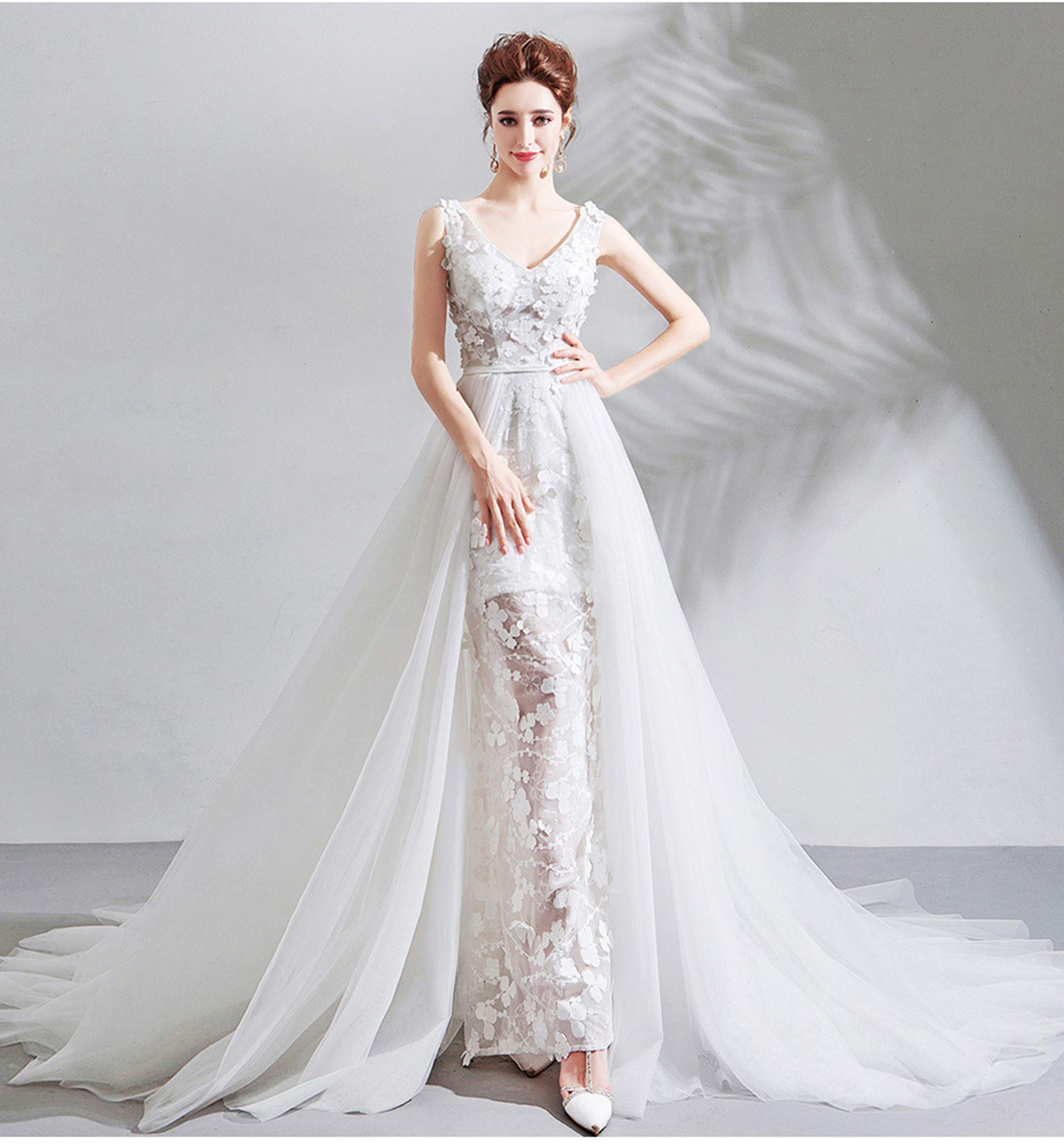 NOMSOCR Women's Lace V Neck Sleeveless Wedding Dresses Mermaid Bridal Gown (M, White) by NOMSOCR (Image #2)