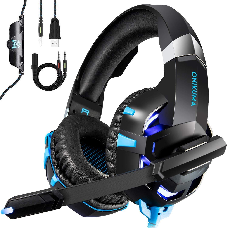 Gaming Headset fü r PS4 Xbox One PC, kdorrku Professional Deep Bass Kopfhö rer, Stereo Gaming Headphone Over-Ear-Kopfhö rer mit Mikrofon LED Licht fü r Laptop Handy Tablet, blau kdorrdu