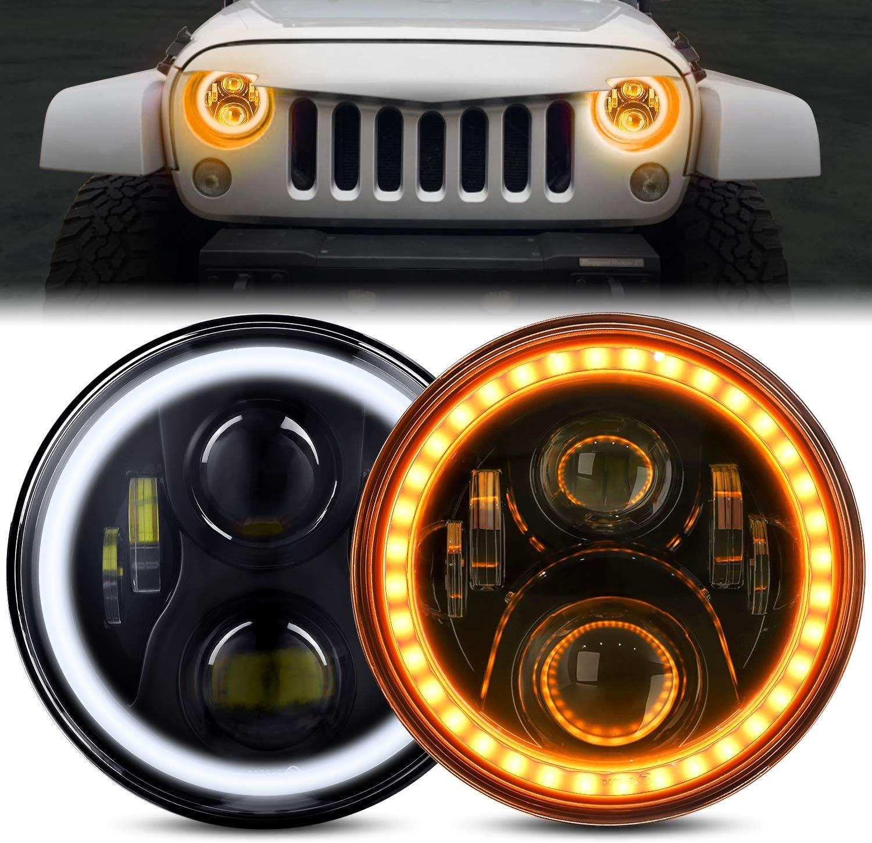 MAIKER 7 LED RGB Headlights with Halo Angel Eyes DRL 4 LED Fog Lights Combo Kit for Jeep Wrangler 1997-2017 JK JKU TJ LJ