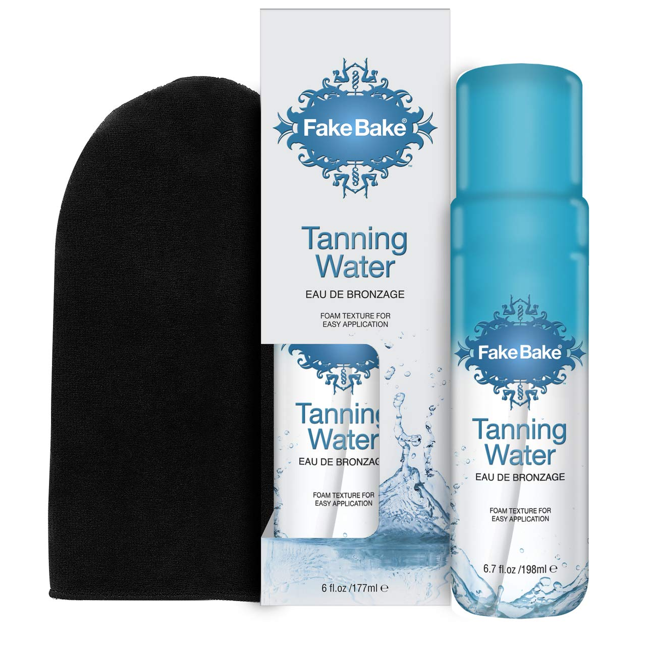 Fake Bake Tanning Water   Instant Hydration with Passion Flower   Natural Looking Sunkissed Golden Bronze Glow   Professional Mitt Included For Easy Application   6.7 oz by Fake Bake