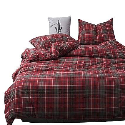 Amazon Com Karever Women Dark Red Grid Bedding Duvet Cover Set