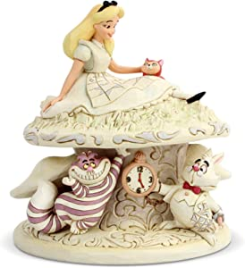 Enesco Disney Traditions by Jim Shore White Woodland Alice in Wonderland Mushroom Figurine, 7 Inch, Multicolor