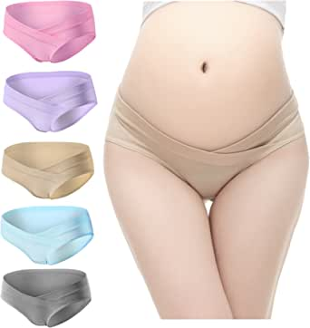 PIDAY Women's Under The Bump Cotton Maternity Hipsters Panties Multi Pack