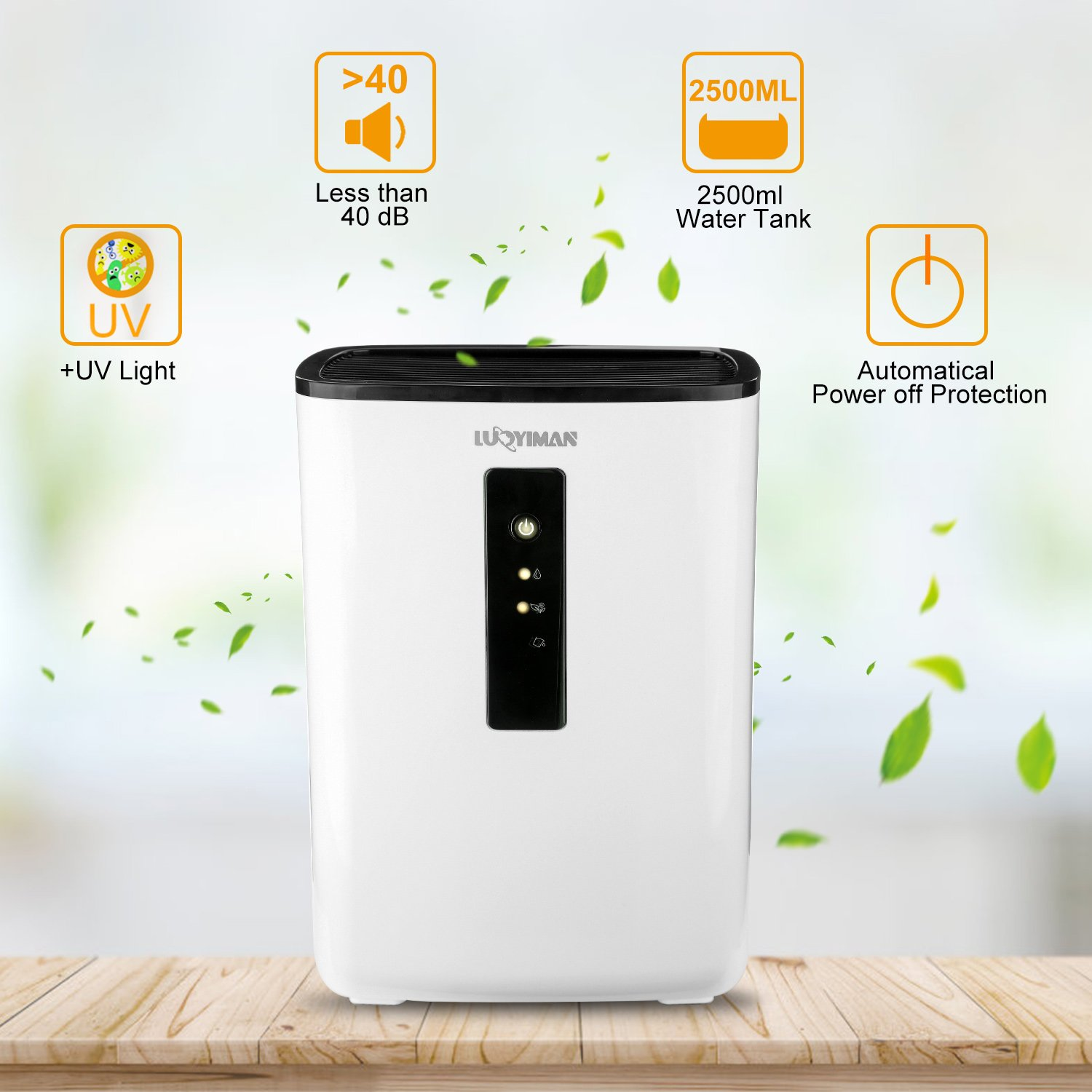 LUOYIMAN Dehumidifier Electric Home Dehumidifier Quiet Operation with UV Sterilization (2.5 Liter) by LUOYIMAN (Image #5)