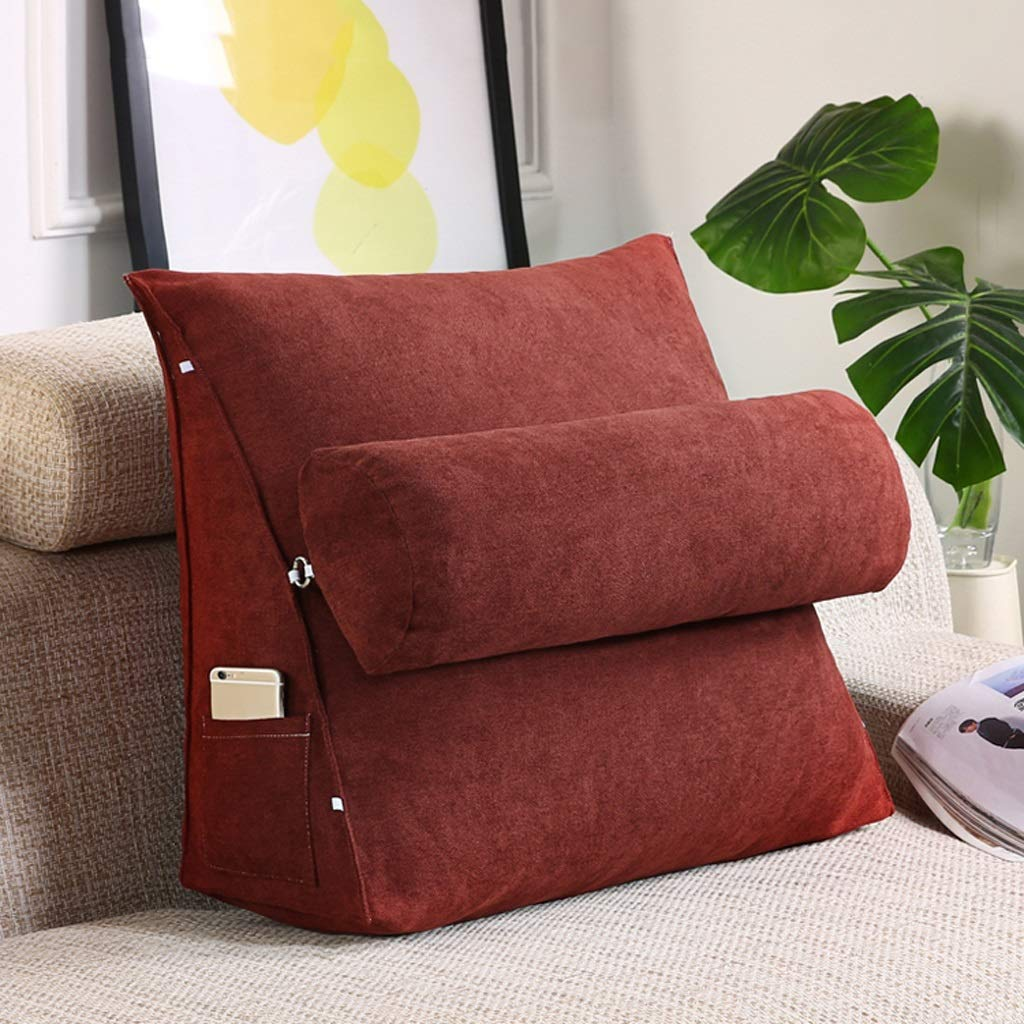 Lil with Headrest Sofa Waist Belt Triangle Cushion, Bed Head Large Office Backrest, Protection Neck Pillow,Removable Washable (Color : Dark red, Size : 454520cm)