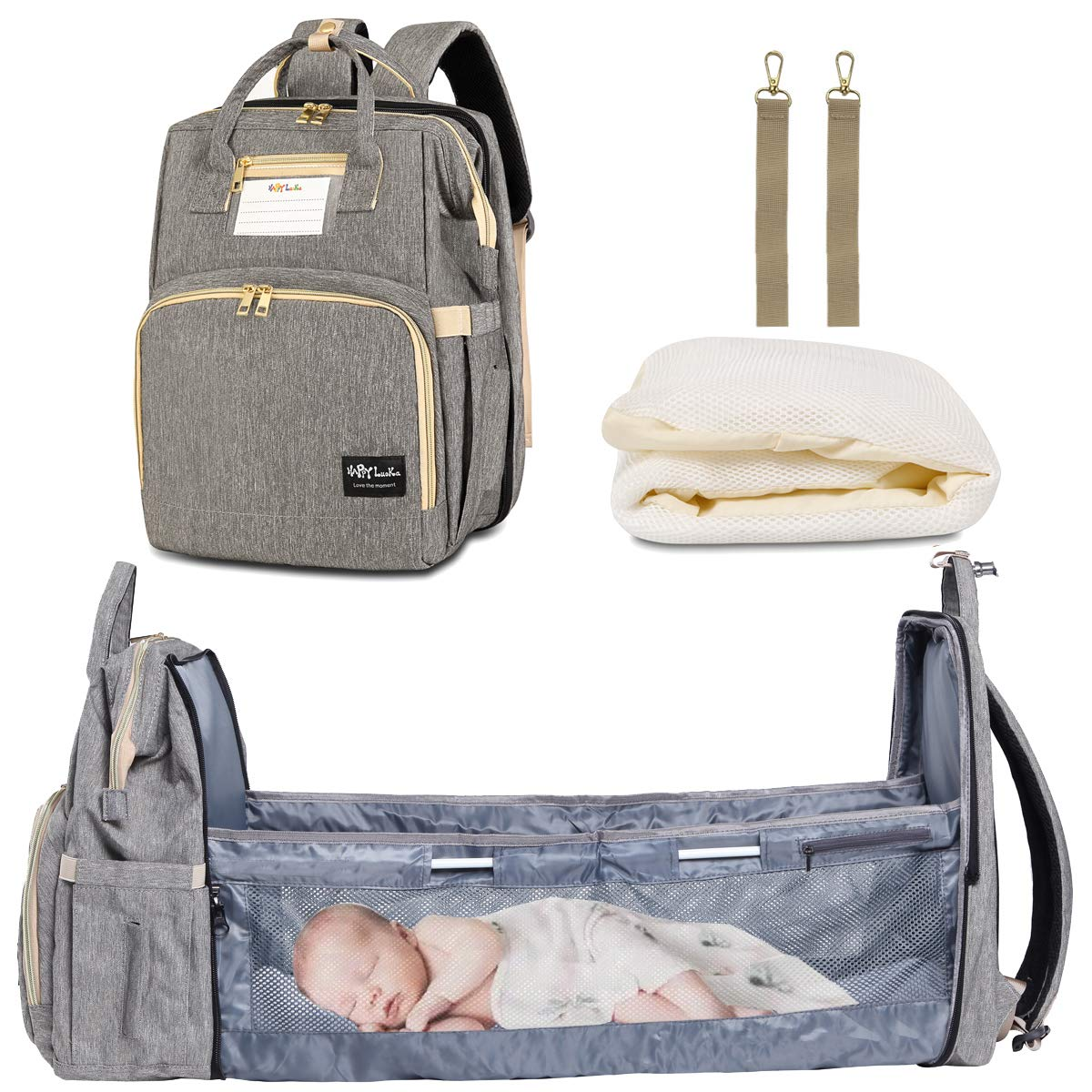 Baby Nappy Changing Bag Portable Folding Crib Diaper Backpack Stroller Straps