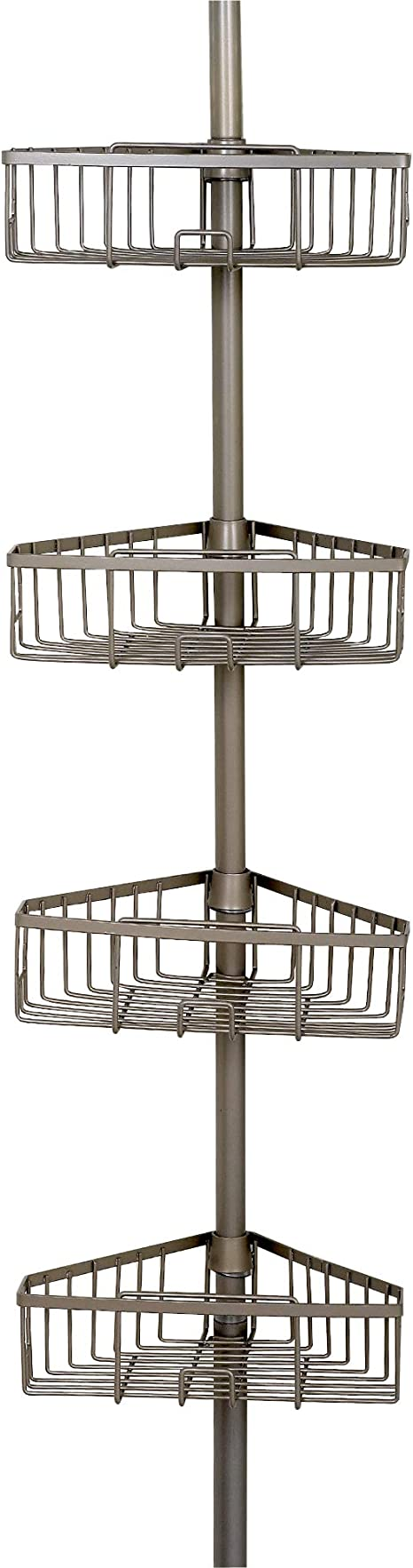Satin Nickel Home Tension Pole Shower Caddy