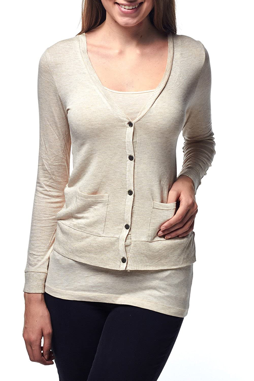 Luna Flower Women's Button Front V-Neck Long Sleeve Lace Sexy Back Cardigans