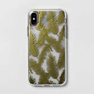 Heyday Apple iPhone X/XS Printed Feathers Case - Gold