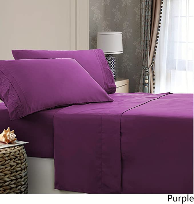 Royal Home Decor Embroidered Microfiber Deep Pocket Sheet Set (Twin, Purple)
