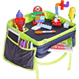 Top Premium Kids Travel Tray For Car Seat-Exclusive 4X Sturdy Walls-2X Deep Cup Holder-Extra Wide Organizer Lap Tray For Baby Travel-Eat n Play Station For Traveling Toddlers-For Stroller Booster Home