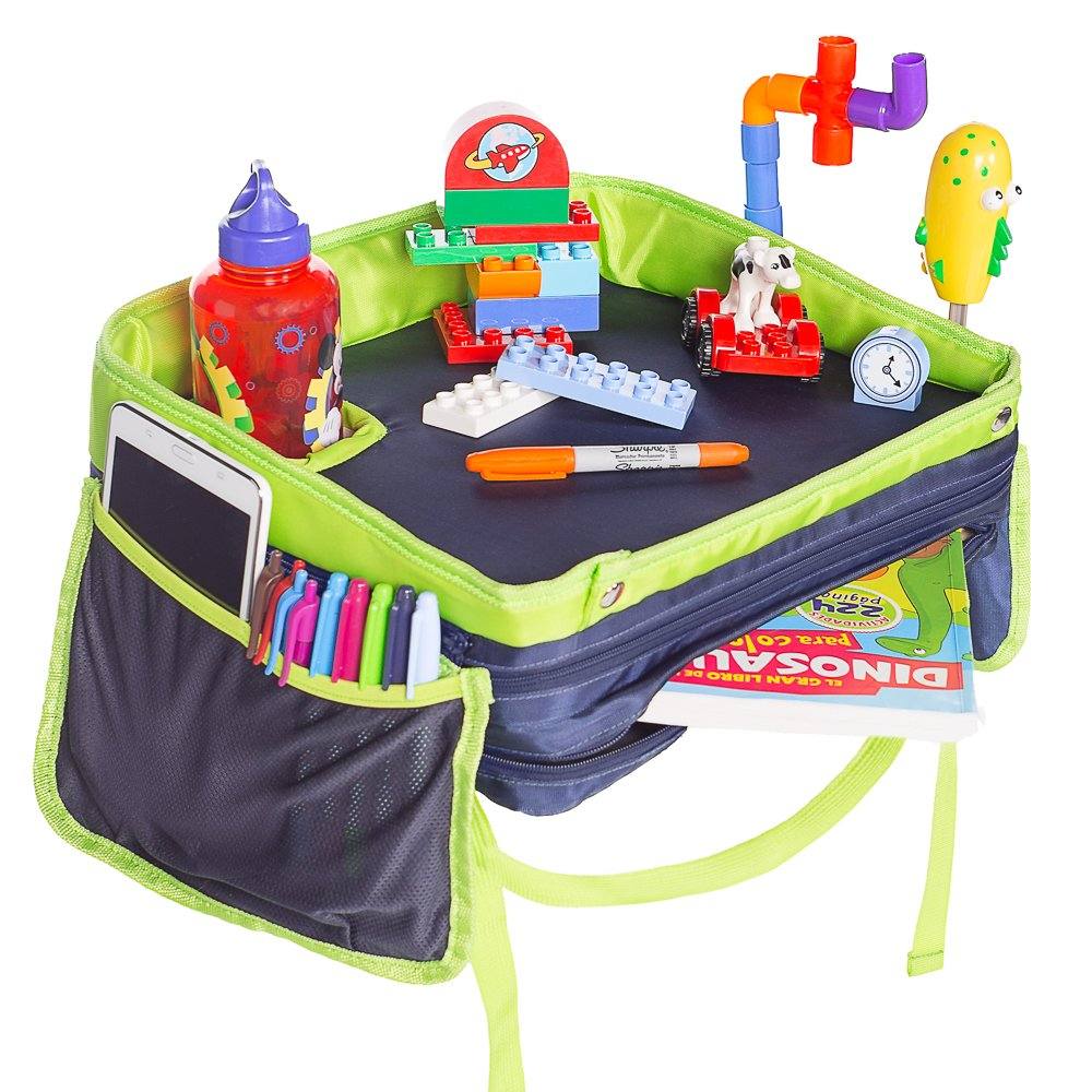 Travel Tray For Kids in Car, 400% Sturdier Walls, 150% Deeper and Wider Cupholder, Stable Surface, Toy and Crayon Organizer, Eat and Play Station while Traveling – 2 Free illustrative eBooks included