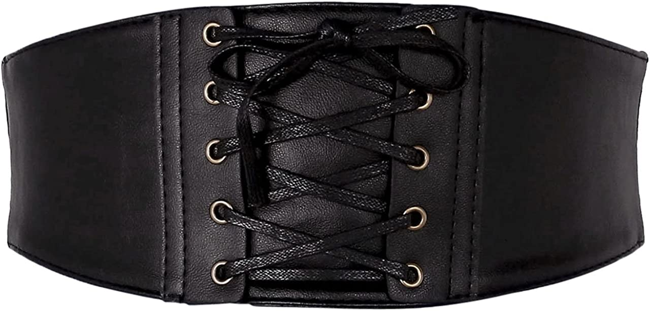 Ayliss Womens Elastic Wide Band Wrap Cinch Retro High Waist Lace-Up Tie PU Leather Corset Cinch Belt Costume Party