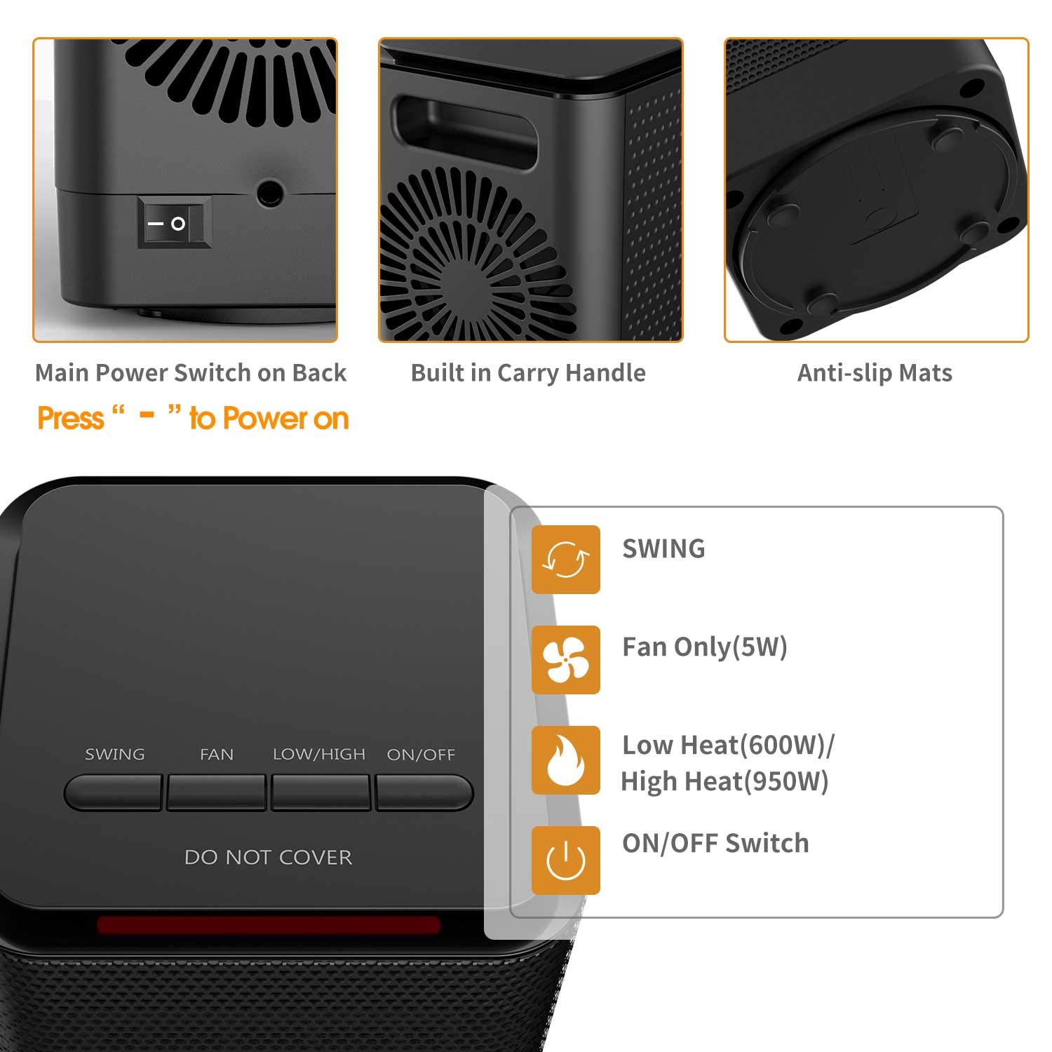 Oscillating Space Heater, Indoor Personal Heater, Electric Ceramic Heater with Over Heat Protection, Tip Over Protection, 3 Heat Settings, Quick Heat up for Home Office 71eVIr3o2BQL
