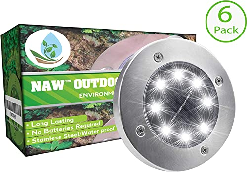 NAW Solar Lights Outdoor, Ground Solar Lights Outdoor Lights,Garden Pathway Outdoor in-Ground Lights 8 LED 6 Pack New Improved