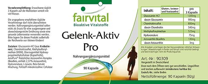 Conjunto Activo Pro - para 1 mes - Alta dosificación - 90 cápsulas - con glucosamina, condroitina, MSM y más: Amazon.es: Salud y cuidado personal