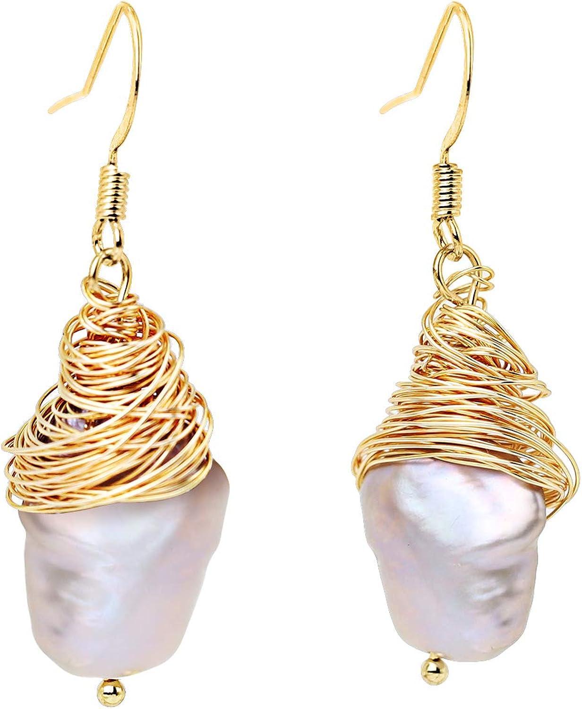 Pendientes Colgantes Perlas Barroca Hilo Envuelto Oro Mujeres