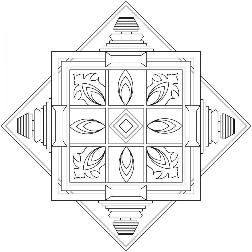 Lebensfreudeladen Mandala Leinwandmalvorlage 330 45 x 45 cm