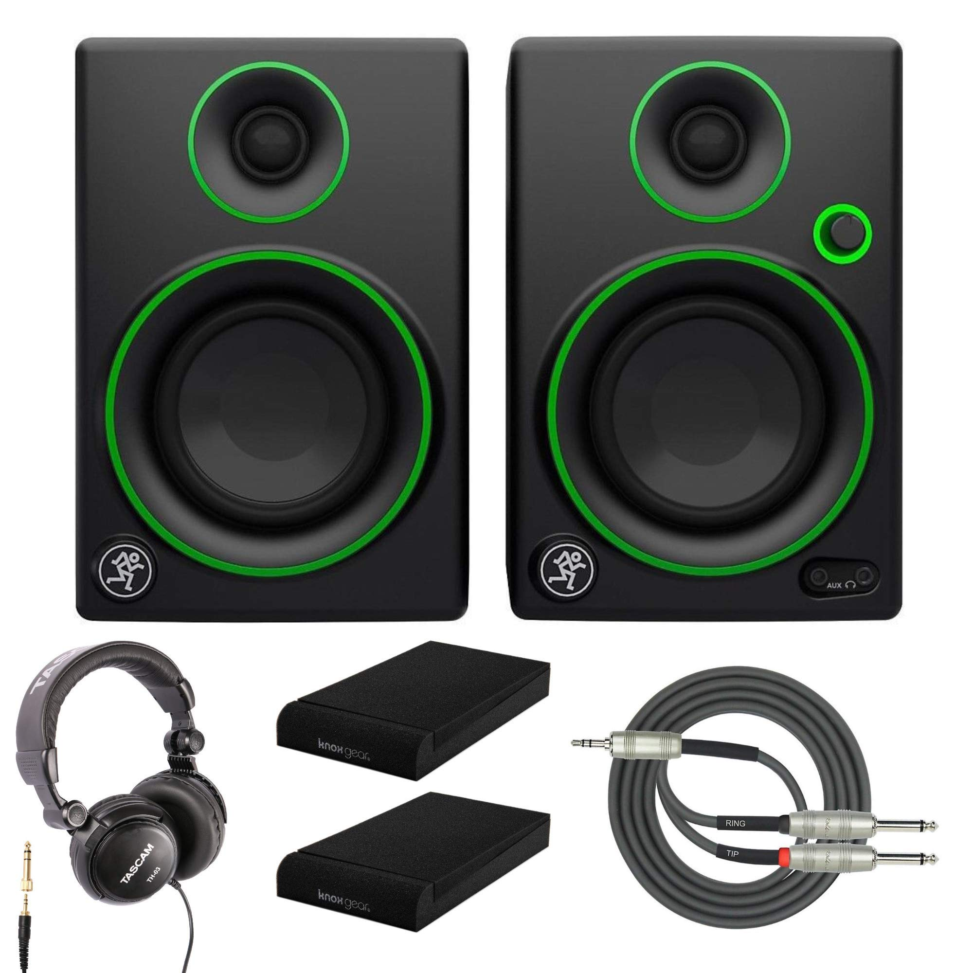 Mackie CR3 3'' Multimedia Monitors with Studio Headphones, Breakout Cable and Knox Gear Isolation Pads