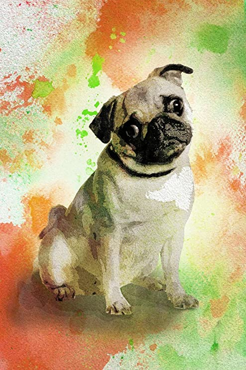 Amazon Com Dogs Pugs Painting Watercolor Splash Background Cool Wall Decor Art Print Poster 12x18 Posters Prints