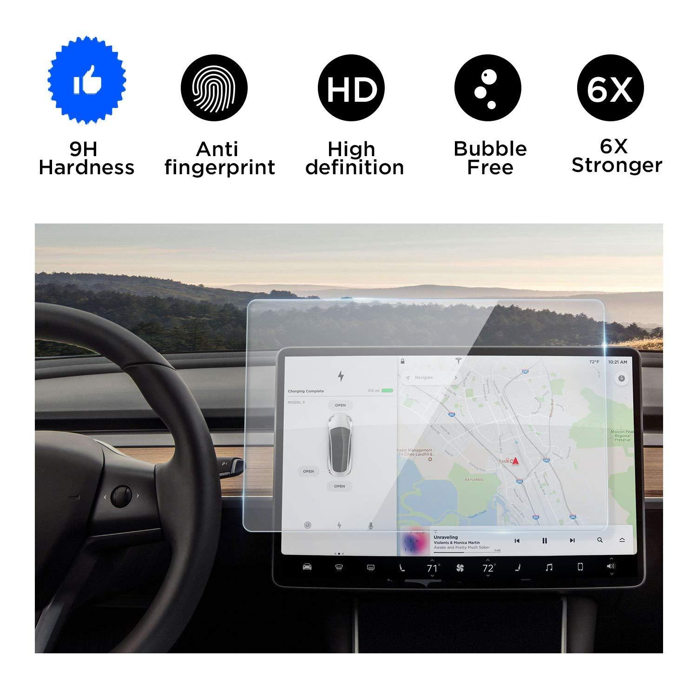 "Tesla Model 3 Screen protector,Tempered Glass Screen Protector for Tesla Model 3,Wonderfulhz,9H Hardness,Anti Fingerprint,High Definition,Tesla 15"" Car Navigation Touch Screen Protector"
