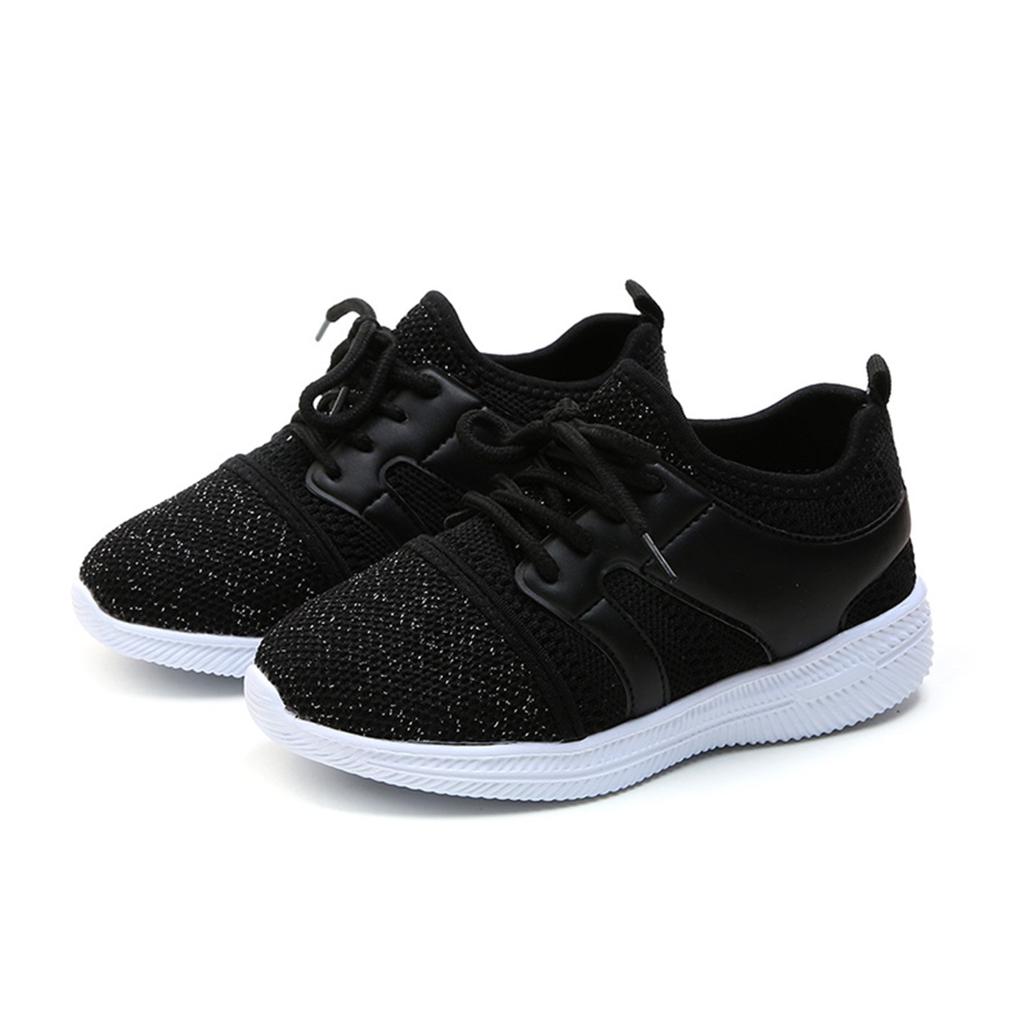 UBEY Kids Lightweight Breathable Running Sneakers Sport Casual Shoes for Boys Girls 11M US Little Kid, Black