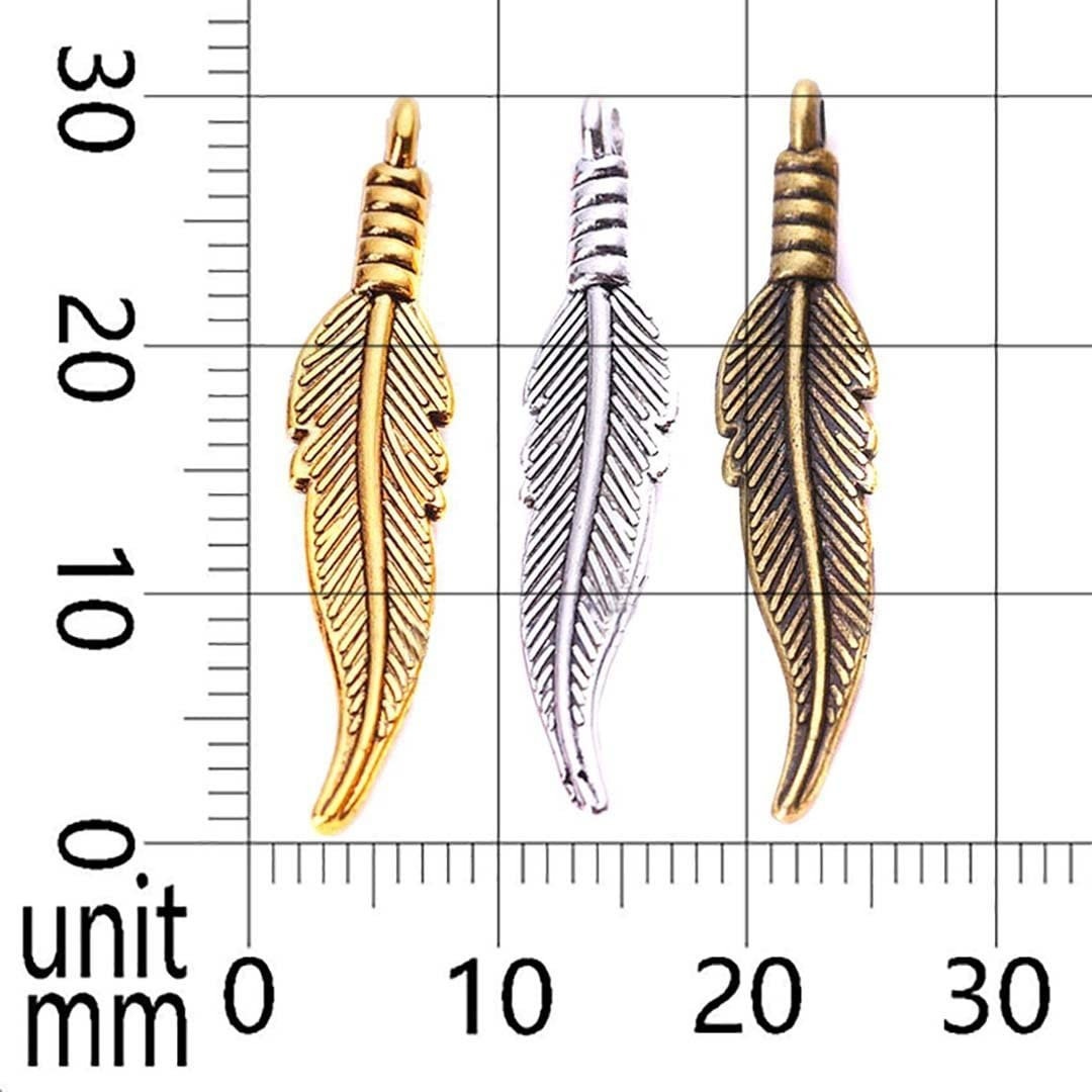 90 Pieces Bronze Small Feather Charm Pendant Feather Charms for Dream Catcher Jewelry Making DIY Findings Necklace and Bracelet Jewelry Accessories Bronze