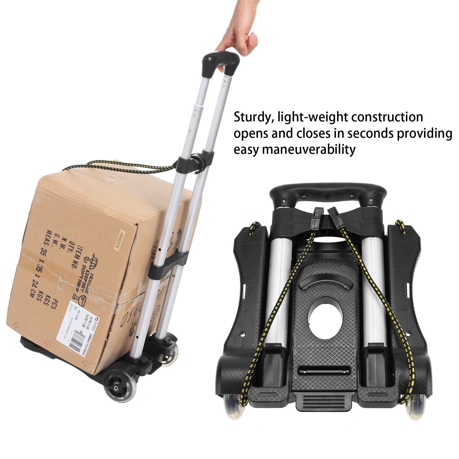 Utheing Black Aluminum Folding Hand Truck Portable Travel Luggage Cart with 2 x Ropes