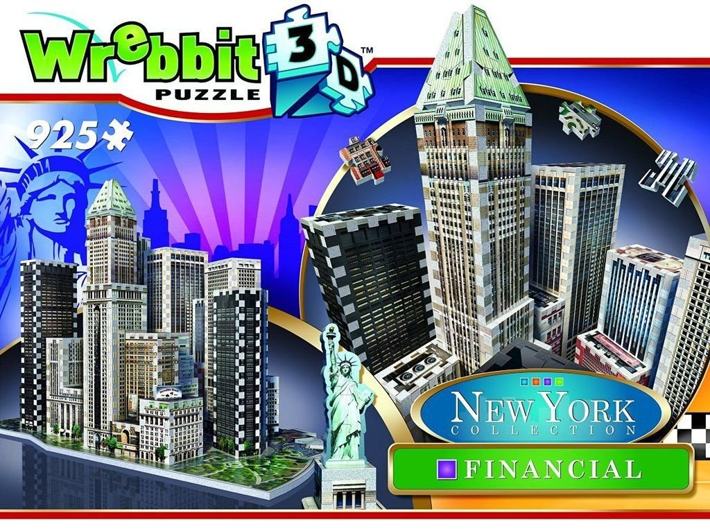 WREBBIT3D Wrebbit Puzz-3D New York City Collection, Financial District, N.Y.C. 3D Jigsaw Puzzle (925 Pieces) WREBBIT PUZZLES W3D-2013