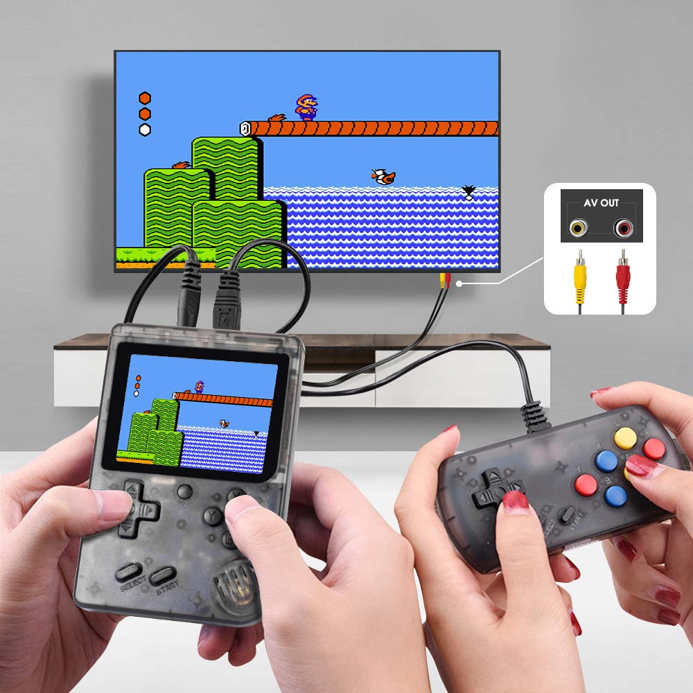 MEEPHONG Handheld Game Console, TV Output Retro FC Plus Extra Joystick NES Classic Game Console Built-in 168 Handheld Video Games (Black Transparent) by MEEPHONG (Image #4)