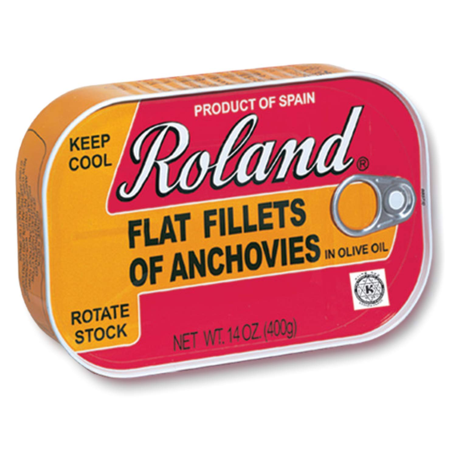 Roland Foods Flat Anchovy Fillets Packed in Olive Oil, Wild Caught from Spain, 14 OZ Can