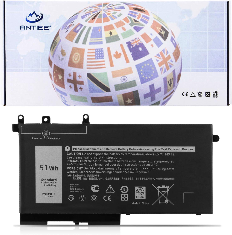 ANTIEE 51Wh 93FTF Laptop Battery Replacement for Dell Latitude 5280 5480 5580 5590 5490 5288 5290 5488 E5280 E5480 E5580 E5490 E5590 E5290 Precision 15 3520 3530 Series D4CMT 4YFVG 83XPC 083XPC