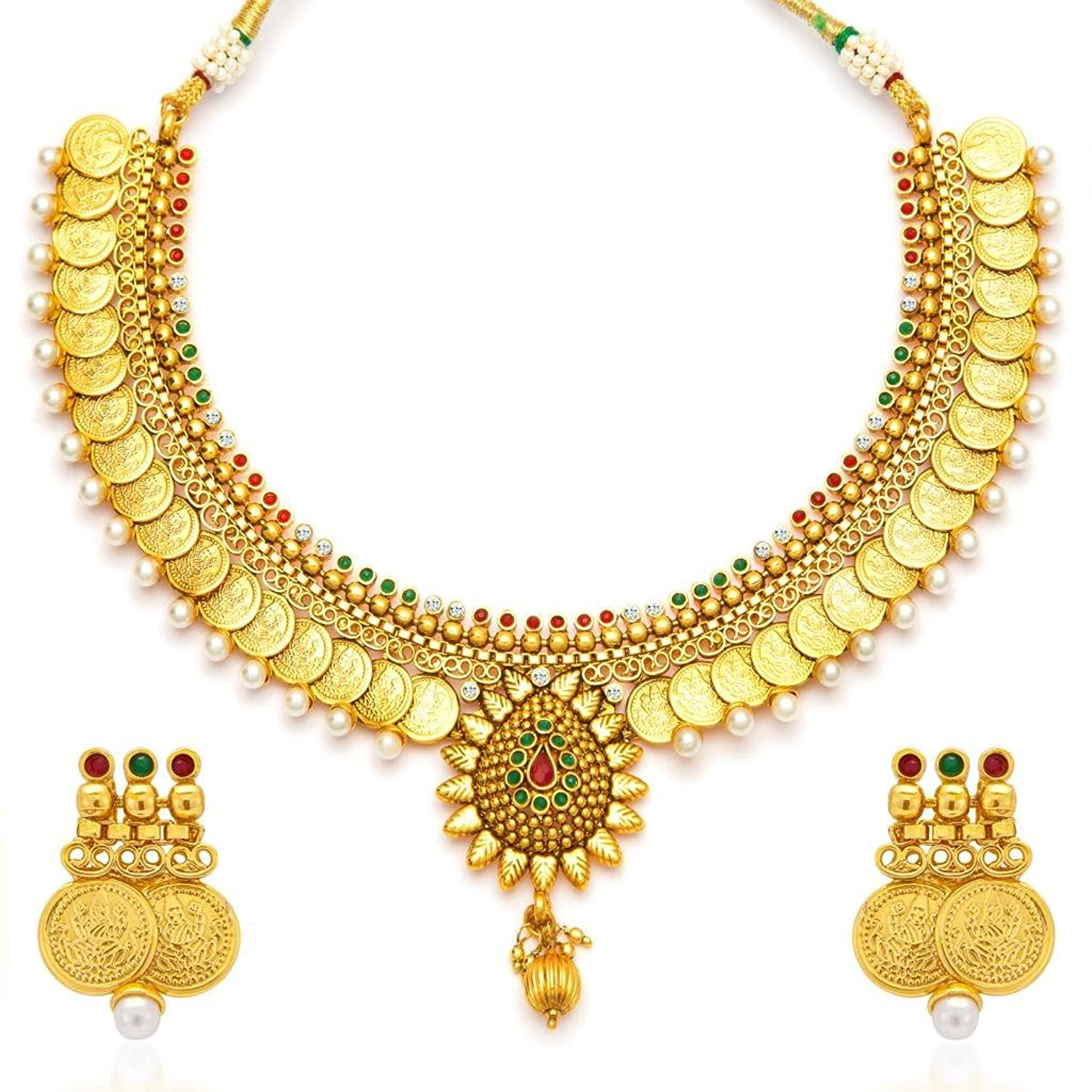 Buy Sukkhi Eye-Catchy Gold Plated Temple Jewellery Coin Necklace ...