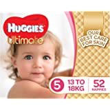 Huggies Ultimate Nappies, Girls, Size 5 Walker (13-18kg), 52 Count