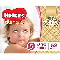 Huggies Ultimate Nappies, Girls, Size 5 Walker (13-18kg), 52 Count