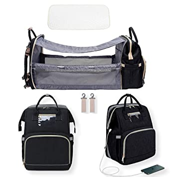 Amazon Com Diaper Bag Backpack 3 In 1 Multifunction Baby Bags Travel Back Pack With Usb Charging Port Waterproof Foldable Baby Bed Large Portable Travel Basket With Wipes Pockets Baby
