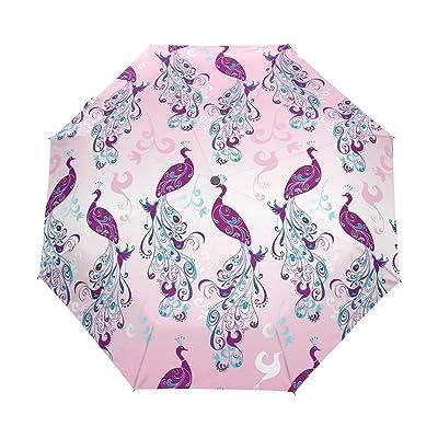 DEYYA Peacock Feather Automatic 3 Folding Parasol Sun Protection Anti-UV Umbrella for Women