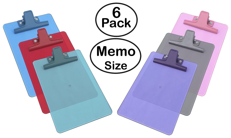 Acrimet Clipboard Memo Size A5 (9 1/8 x 6 1/4) Premium Metal Clip (Plastic) (Assorted Color) (6 - Pack) 120.6