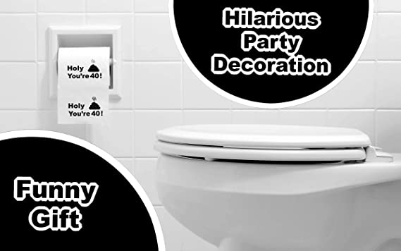 40th Birthday Gift Present Toilet Paper Happy Fourtieth 40 Prank Funny Joke Present Novelty Great Hilarious Gag Laugh
