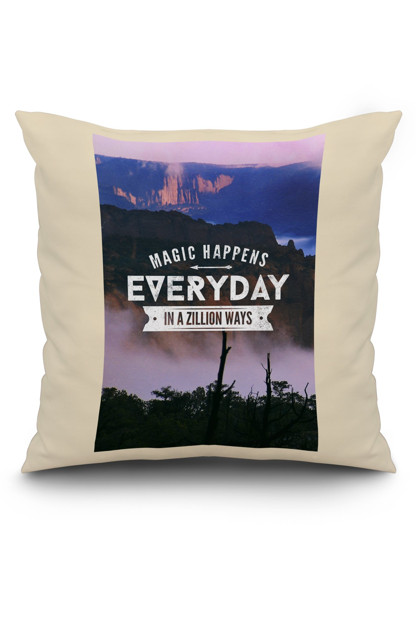 Magic Happens Everyday in a Zillion Ways (20x20 Spun Polyester Pillow, White Border)